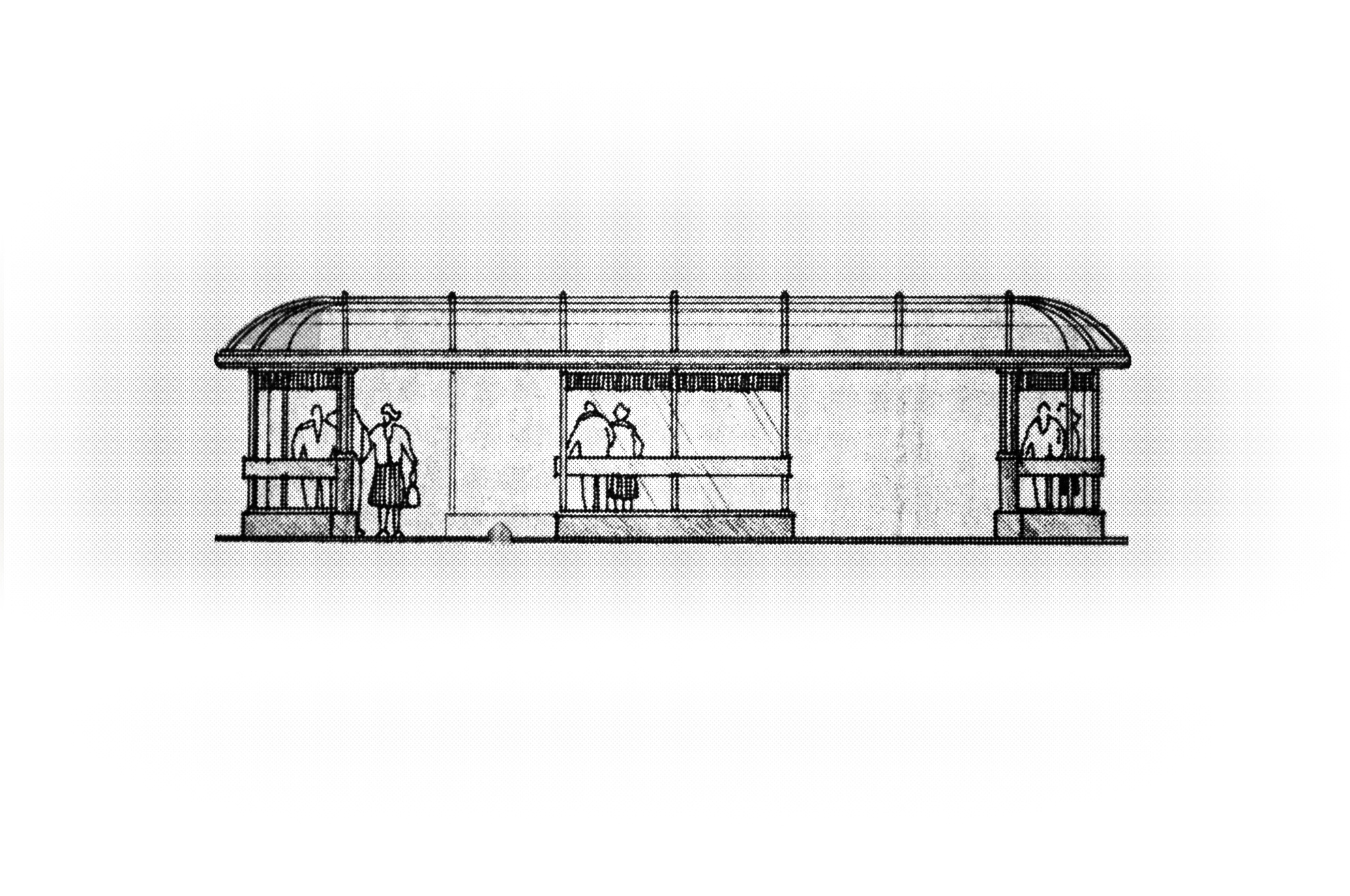 A profile drawing of one of the larger bus shelters.