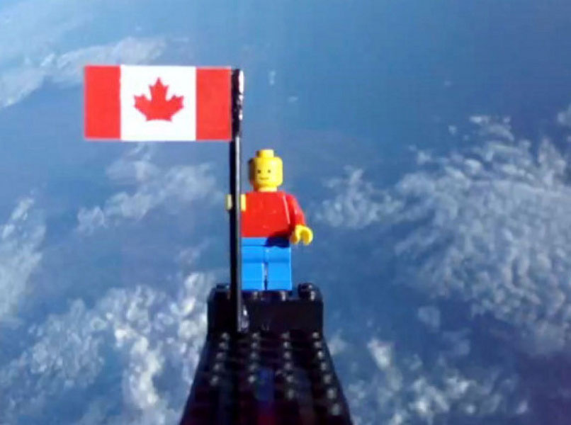 Two teenagers from Toronto, Ontario sent this Lego man into space riding a weather balloon. One really tiny step for Lego man; One giant leap for mankind. [PHOTO: via Toronto Star]