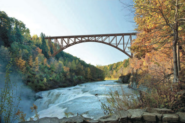 Proposed design for new Portageville Bridge (looking south from the Middle/Upper Falls Picnic Area). [RENDERING: Provided by NYSDOT]