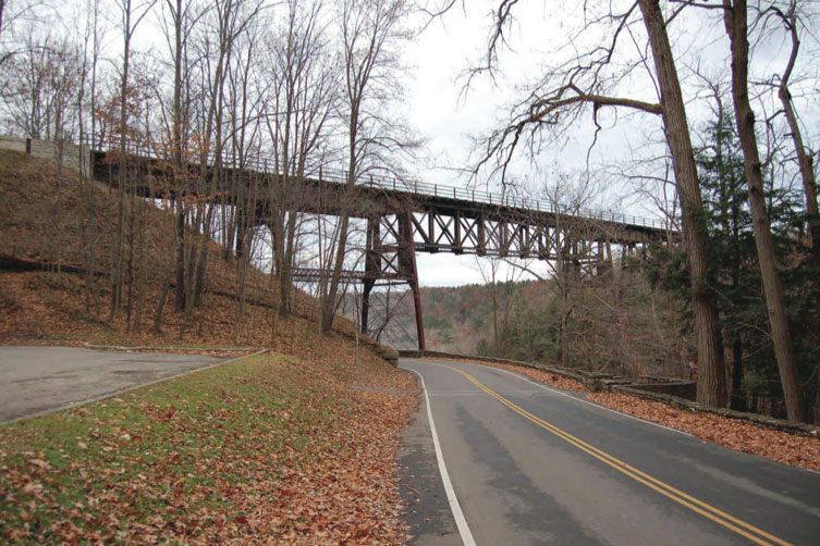View of the Portageville Bridge from Park Road on the west side of the Genesse River. [PHOTO: Provided by NYSDOT]