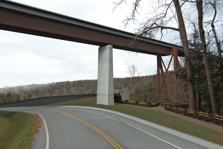 View of the proposed new Portageville Bridge (from Park Road). [RENDERING: Provided by NYSDOT]