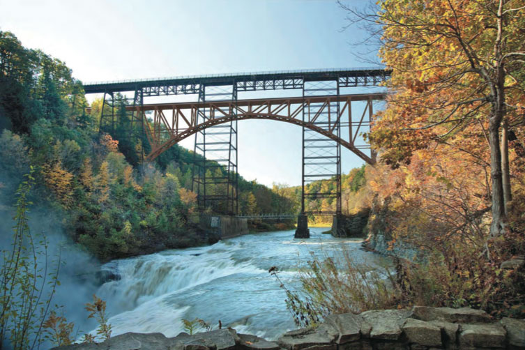 A third alternative to doing nothing or demolishing the old bridge; keep the old bridge and build a new one next to it. [RENDERING: Provided by NYSDOT]