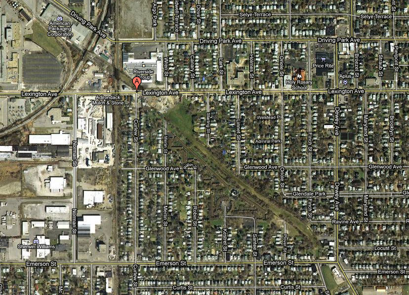 Jim Hall would often stay at his Grandmother's house where he and his siblings would watch the B&O trains roll past the front window. In this satellite photo the B&O Railroad line runs north/south, while the Rochester Subway ran northwest/southeast under the railroad tracks and Lexington Avenue. The right-of-way is still clearly visible.