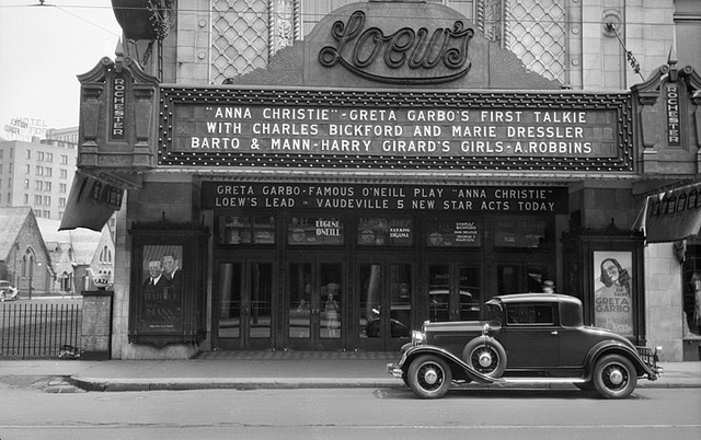 "Loew's Rochester Theatre, Rochester. On the marquee: Greta Garbo, Charles Bickford, Maria Dressler in ""Anna Christie"" and on stage Barto and Mann, Harry Girard's Ensemble, and A. Robbins. Photo by George Mann of the comedy dance team, Barto and Mann. April 26, 1930. [PHOTO: George Mann of the comedy dance team, Barto and Mann. Via Brad Smith's Flickr Stream]"