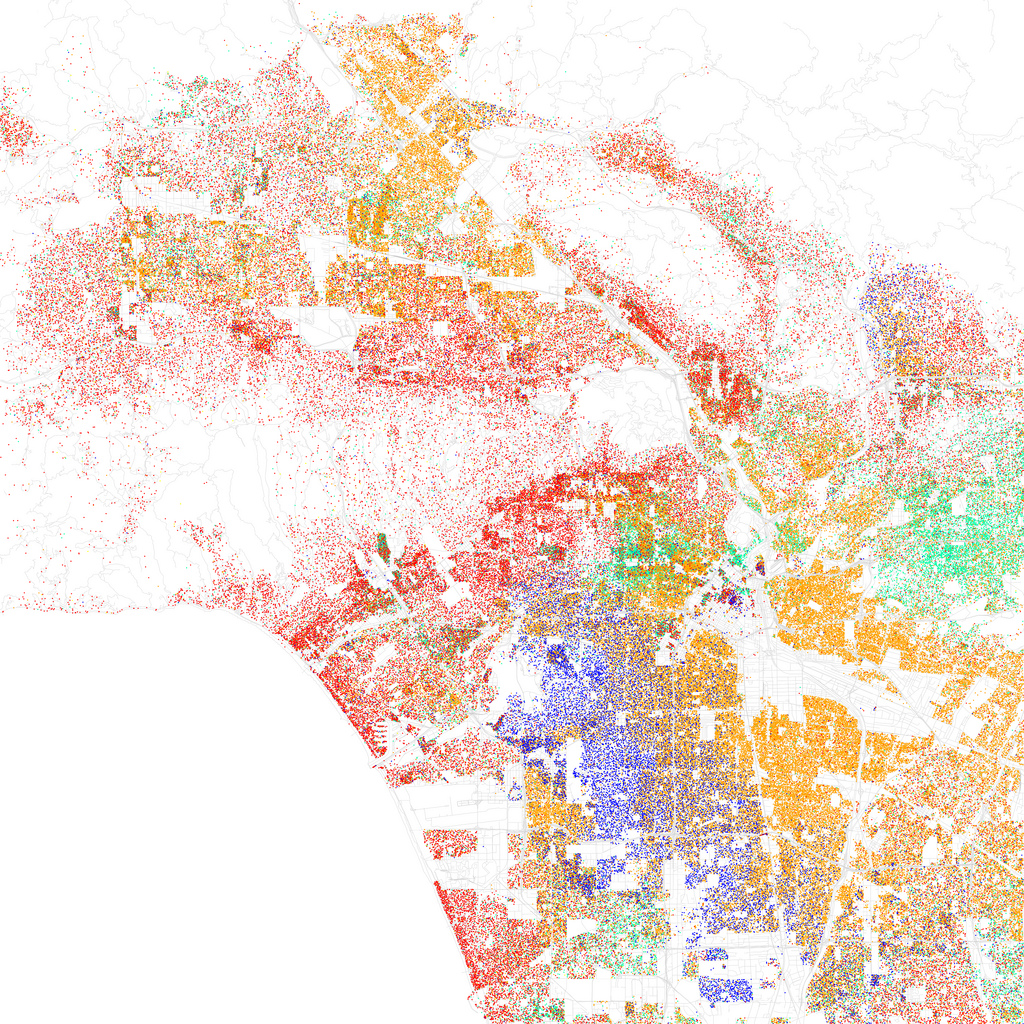 Map of racial and ethnic divisions in Los Angeles, created by Eric Fischer using 2010 Census data.