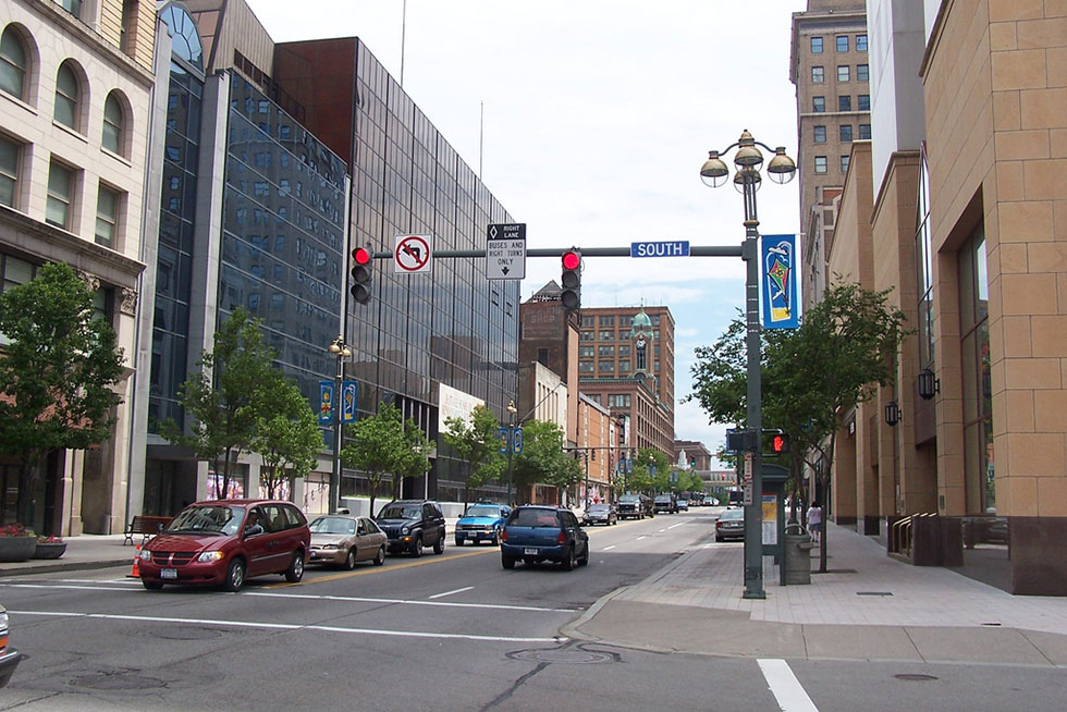 Harvey Botzman, a local cycling advocate, is calling for protected bike lanes for the full length of Main Street in Rochester. [PHOTO: J. Stephen Conn, Flickr]