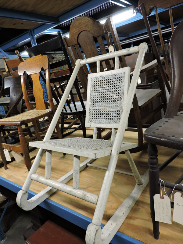 Prototype of the Harper shampooing chair. In the collection at the Rochester Museum and Science Center. [PHOTO: Joanne Brokaw]