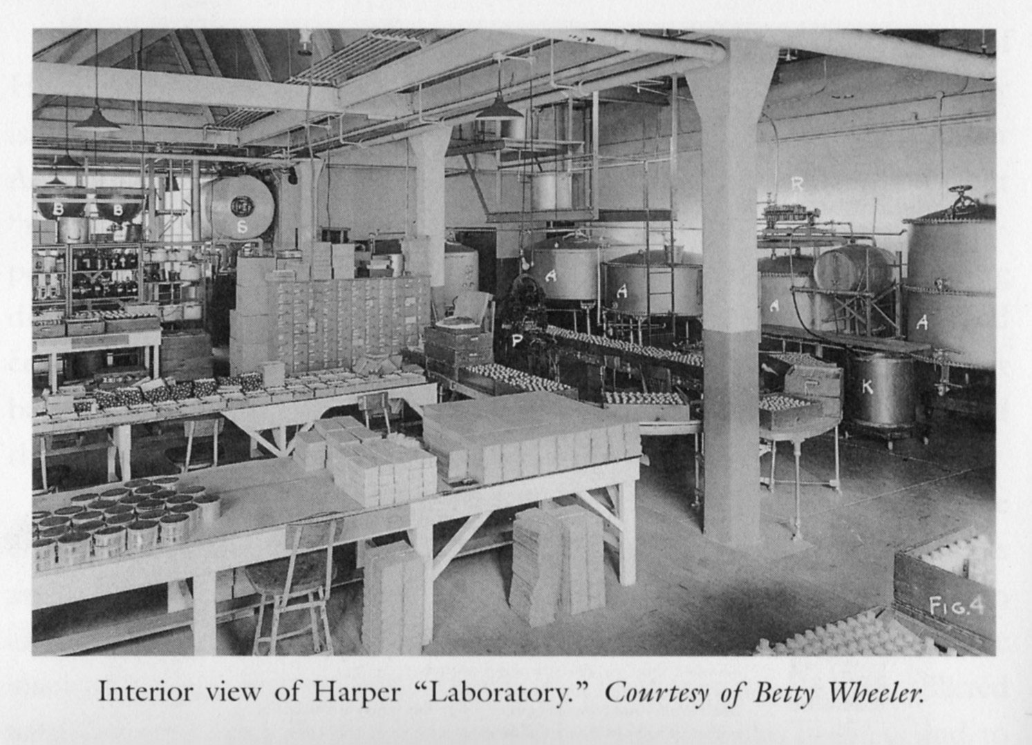 An old photo showing Harper's laboratory that is now filled with tires. [IMAGE: From the book, 'Martha Matilda Harper and The American Dream: How One Woman Changed The Face of Modern Business' by Jane R. Plitt]
