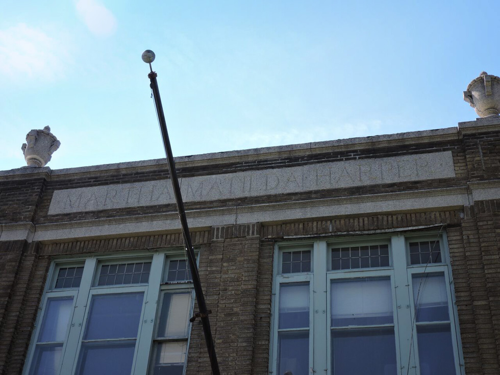 The engraved sign on the building is still visible, and this is what originally caught my eye. [PHOTO: Joanne Brokaw]