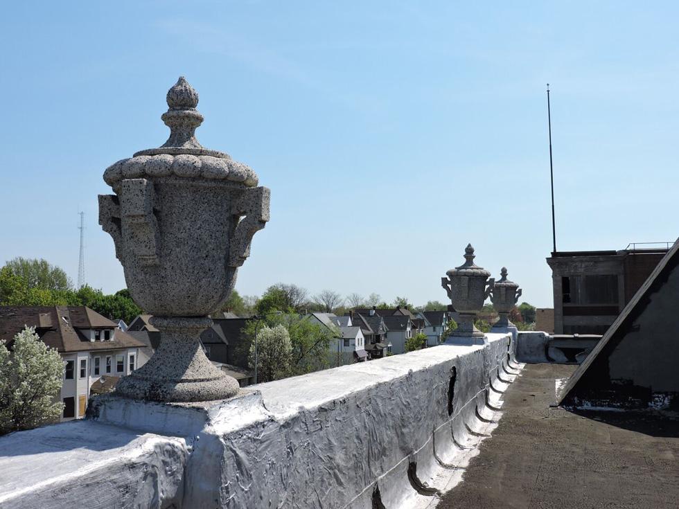 On the roof, looking onto East Main towards Culver. [PHOTO: Joanne Brokaw]