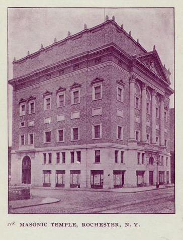 An earlier photo of the Temple. Large stones adorn the cornice of the building. [IMAGE: Rochester Public Library]