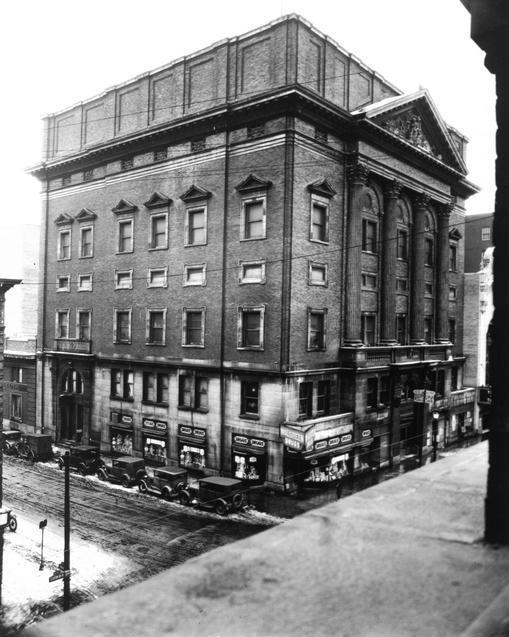 The Masonic Temple at Clinton Avenue and Mortimer Street. The RKO Palace Theater can be seen next to it. [IMAGE: Rochester Public Library]