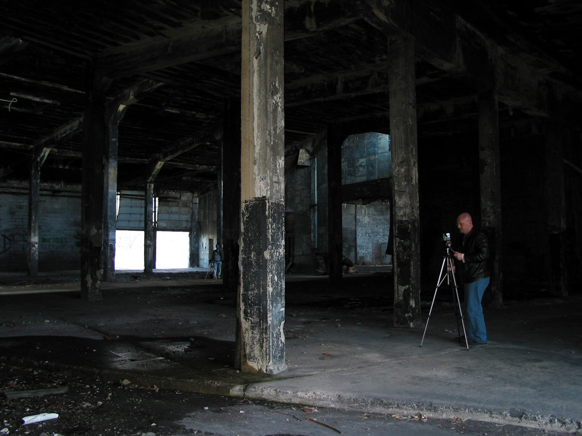 Chris Luckhardt shooting inside an abandoned train yard warehouse in Manchester, NY. (photo: Chris Luckhardt)