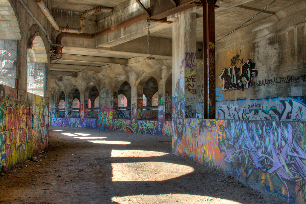An HDR image of the abandoned Rochester subway tunnels. From a visit to the abandoned Rochester subway by the Toronto Exploration Society. The graffiti is always amazing down there. (photo: Chris Luckhardt)