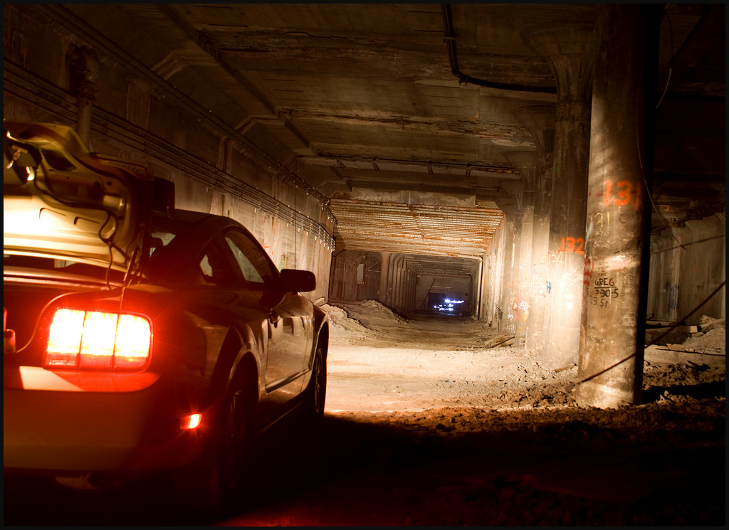 From another visit to the abandoned Rochester subway by the Toronto Exploration Society. This Mustang appeared out of nowhere. Turns out the driver is involved with the the Rochester Historical Society. He gave us lots of interesting information, and confirmed other information we already knew) about the subway system. (photo: Chris Luckhardt)