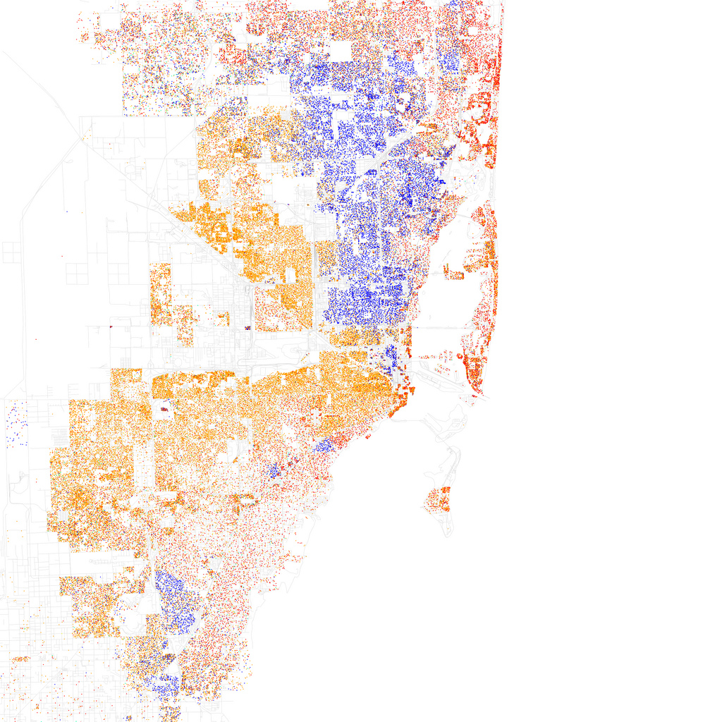 Map of racial and ethnic divisions in US cities, created by Eric Fischer using 2010 Census data.