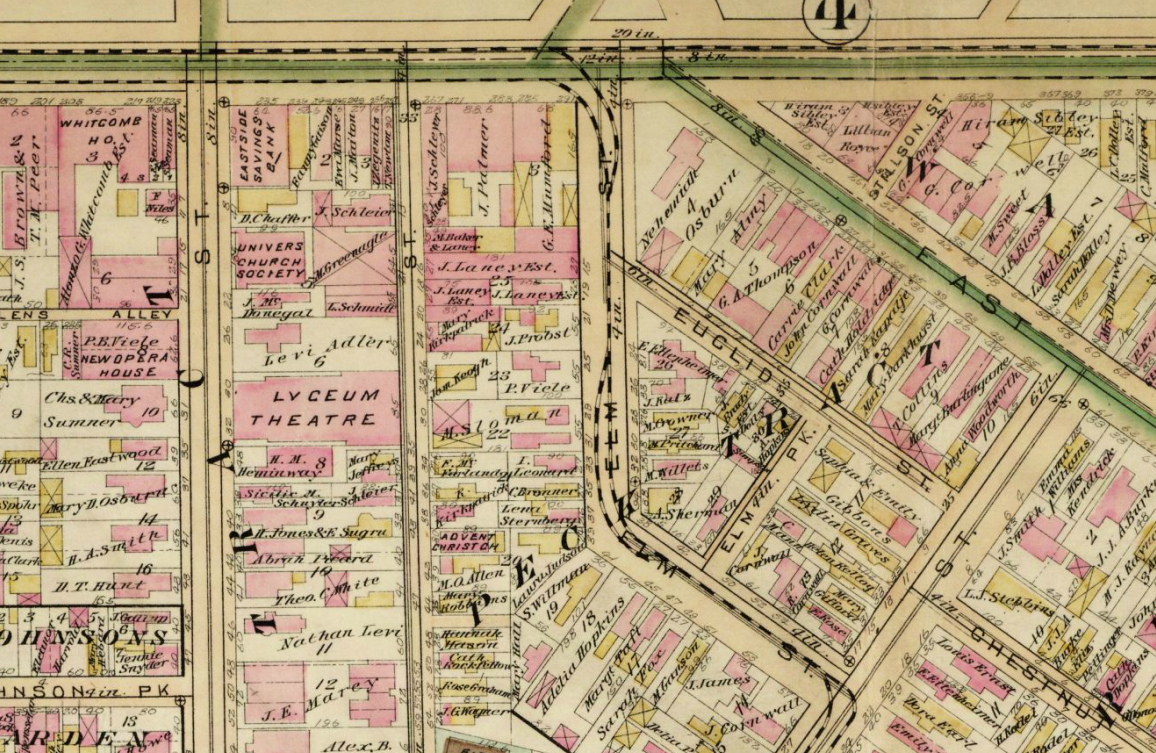 Map of Rochester streets (1888) where Midtown is today.