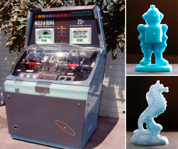 A typical Mold-A-Rama vending machine. In the 1950's and 60's these things could be found at parks, zoos, museums, etc. and popped out a wide variety of shapes and figures. [PHOTO: DavesBlogCentral.com]