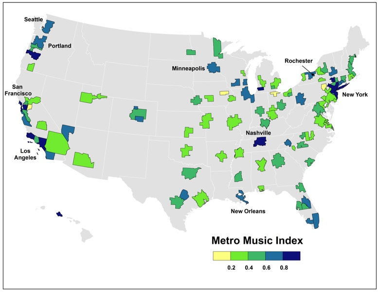 It probably surprised many people to see that Rochester ranked #9 on Atlantic Cities' list of most musical U.S. cities, immediately behind Las Vegas, Portland, and New Orleans. [IMAGE: The Atlantic Cities Blog]