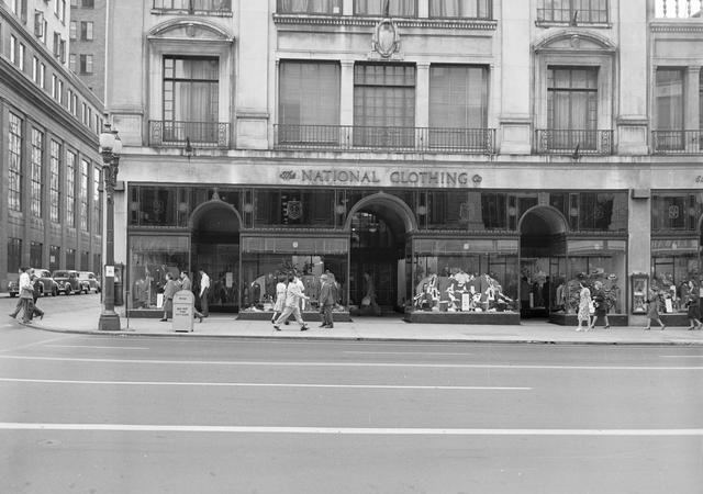 This building used to be a National Clothing Store. Here's what it looked like in 1947. [PHOTO: Rochester Municipal Archives]