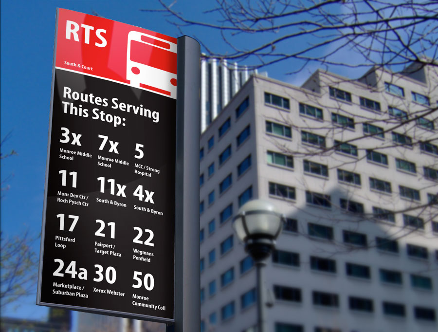 I believe RTS could ease the lives of all of its customers and gain a substantial number of new riders simply by redesigning the bus stop signs. And I'm not afraid to donate some free design services to get us there. Here's my proposed redesign…