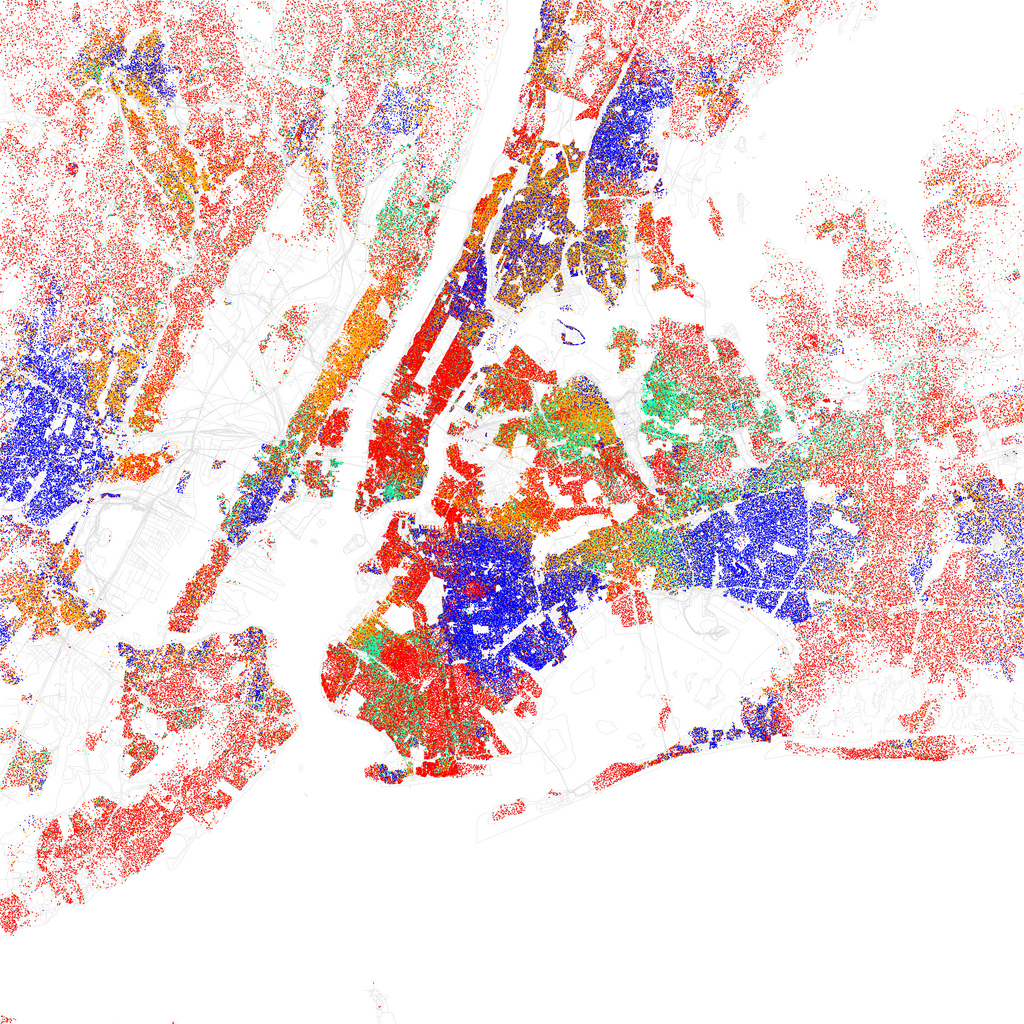 Map of racial and ethnic divisions in New York City, created by Eric Fischer using 2010 Census data.
