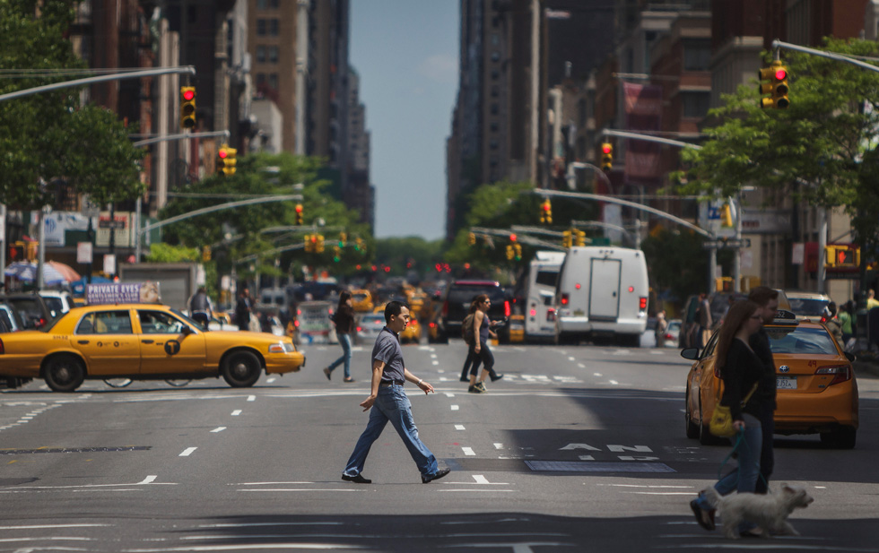 In June, the New York State legislature passed a bill to let NYC lower its default limit to 25mph. Lowering speed limits is part of Mayor Bill de Blasio's Vision Zero plan. [PHOTO: Michael Tapp, Flickr]