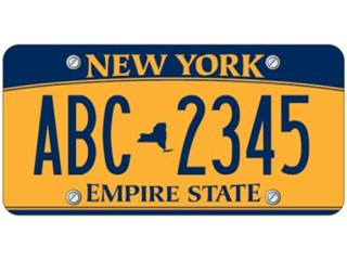 The newly proposed NY license plate design. Gold with a blue swoosh? Are you kidding me with this?