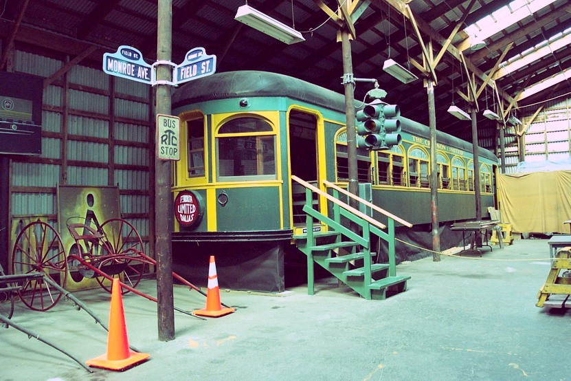 Northern Texas Traction Company car 409 spent many years inside the former Rochester Spaghetti Warehouse restaurant located in downtown Rochester. Mainly through the efforts of NYMT member Charlie Robinson, a trolley historian, car 409 was re-opened for public display inside the NYMT after the Speghetti Warehouse closed.