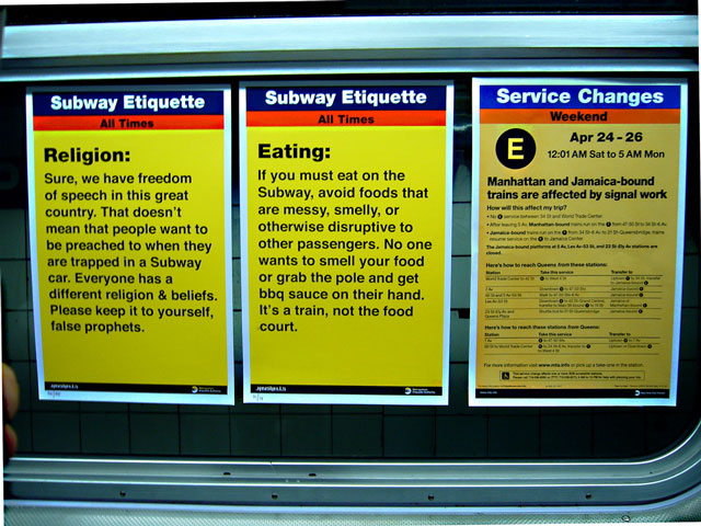 Jason Shelowitz, a NY graphic designer, created about 360 of these subway etiquette posters. Photo via leonem's flickr.
