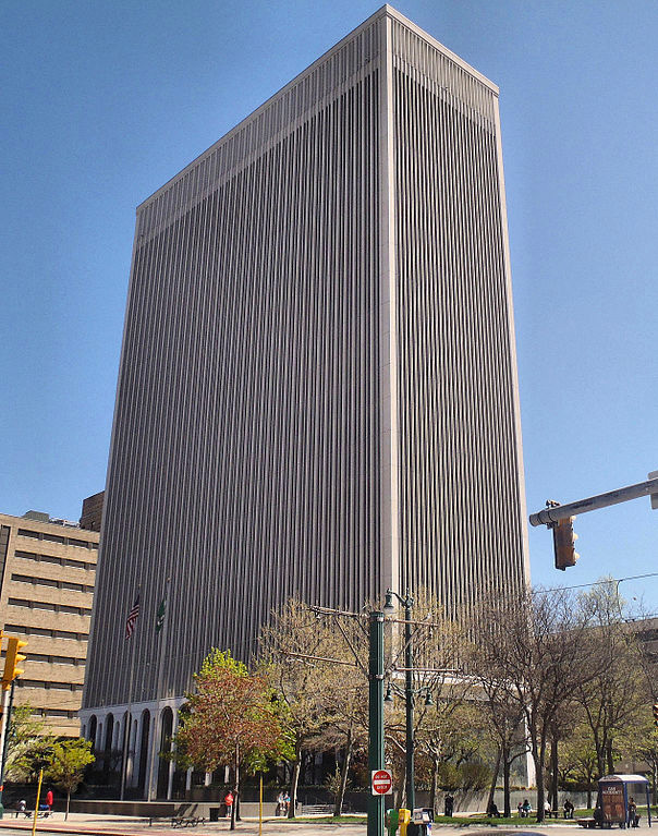 One M&T Plaza, Buffalo. Started in 1964 and completed in 1966 (Minoru Yamasaki).