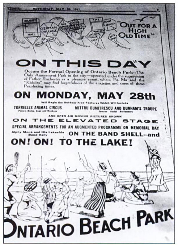 Ontario Beach Park opening day poster. May 28, 1927.