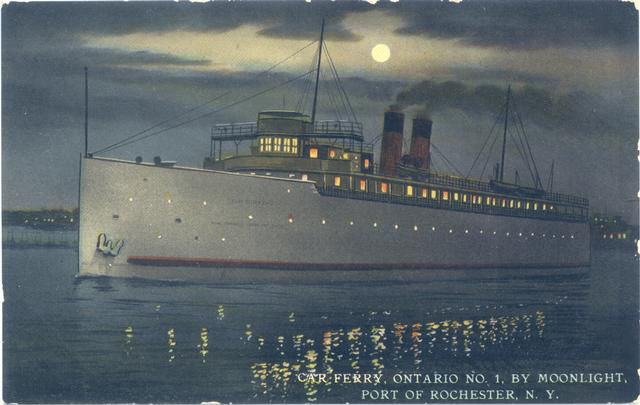 Vintage view of car ferry Ontario no. 1 at night.
