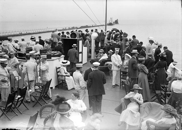 Group of city clerks and their families on board the ferry Ontario I during the Rochester Common Council outing at Coburg. August 4, 1912. [PHOTO: Albert R. Stone]