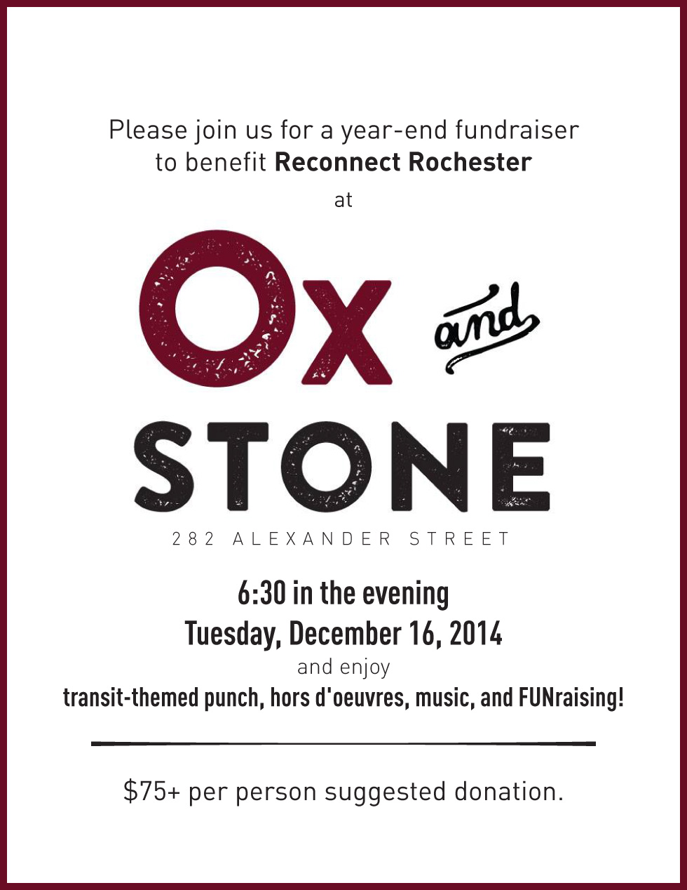 Join us for a fundraising event to benefit Reconnect Rochester.