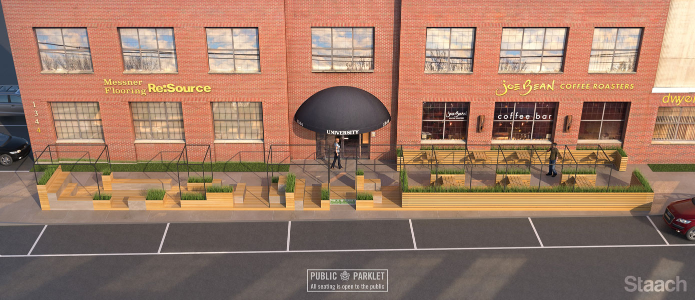 This first parklet may serve as a model for similar projects across town. [IMAGE: Staach]