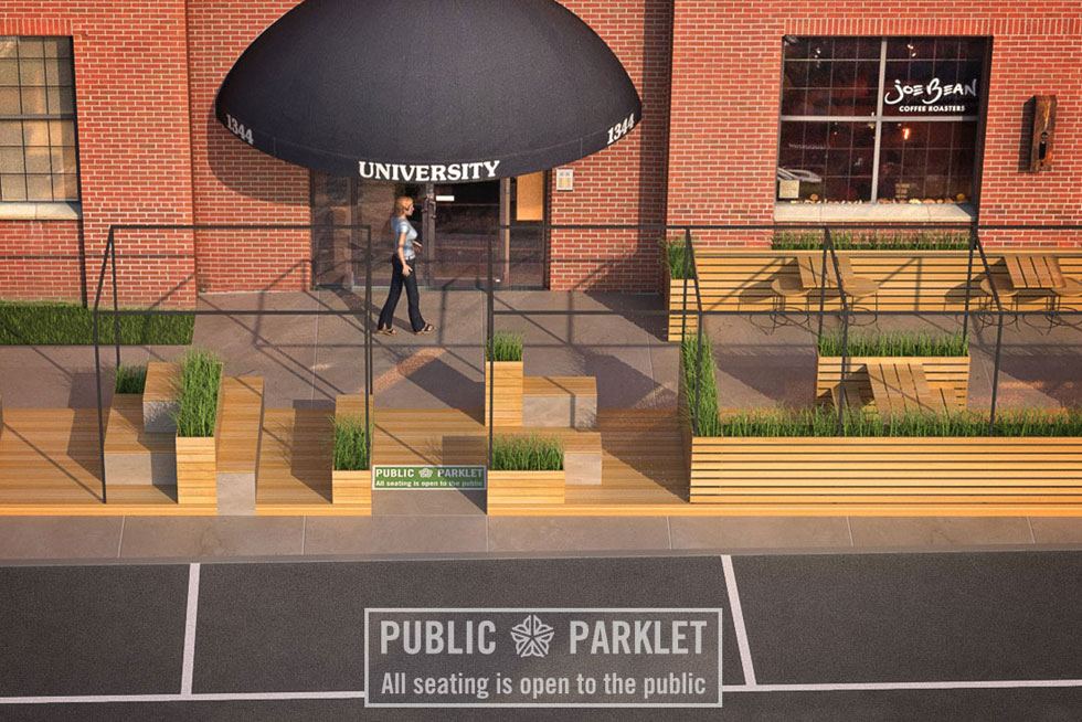 Next spring construction will begin on Rochester's first parklet in front of Joe Bean Coffee Roasters. [IMAGE: Staach]