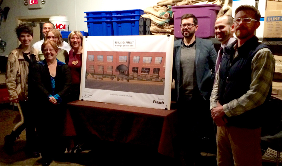 At the unveiling party last week at Joe Beans. From left to right: Nicole Howley, Nancy Johns-Price, Christopher Calabro (Building Owner), Madelaine Britt, Kathy Turiano, Seth Eshelman, Erik Frisch, Brandon Colaprete. [PHOTO: Alex Freeman]
