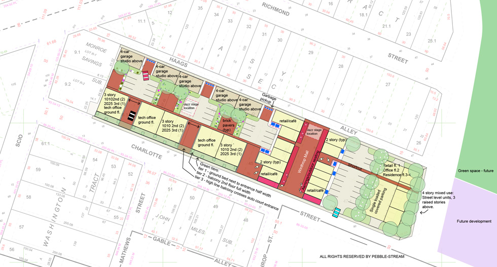 A plan view of the proposed development for Charlotte Street. [IMAGE: Pebble-stream]