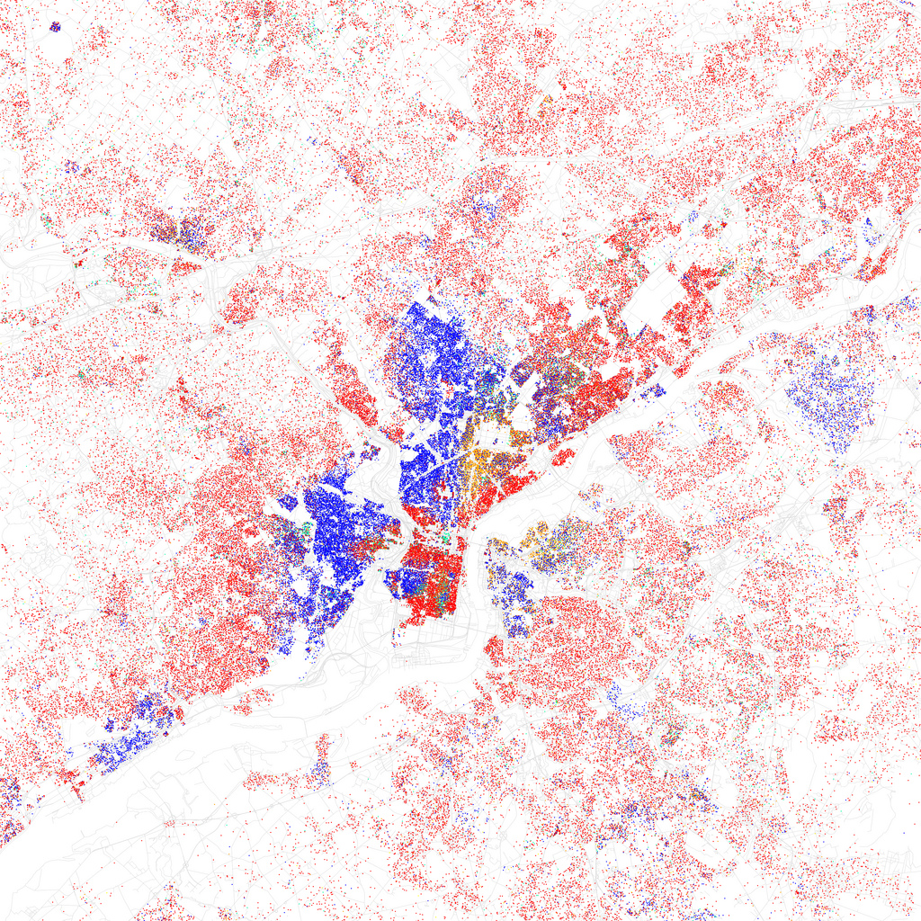 Map of racial and ethnic divisions in Philadelphia, created by Eric Fischer using 2010 Census data.