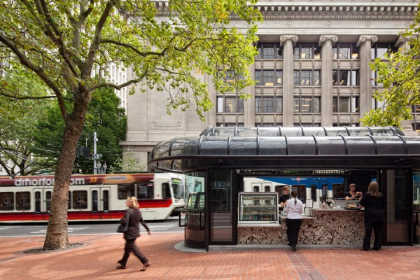The City of Rochester was looking for someone to adaptively reuse, redevelop, and operate five former bus shelters on Main Street in downtown Rochester (similar to this one in Portland, OR. If no one responds by the end of this week, the shelters will likely be removed.  [PHOTO: Hennebery Eddy Architects, Inc.]