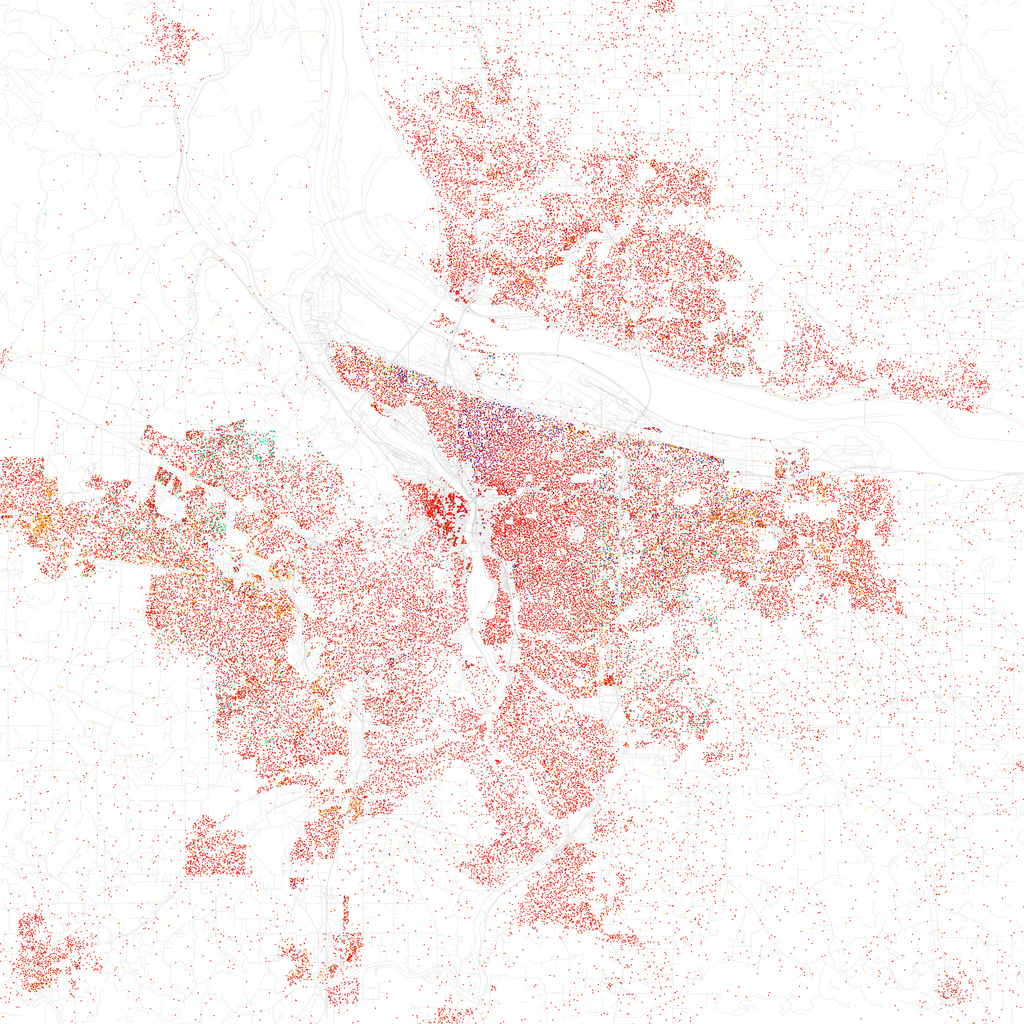 Map of racial and ethnic divisions in Portland, Oregon, created by Eric Fischer using 2010 Census data.