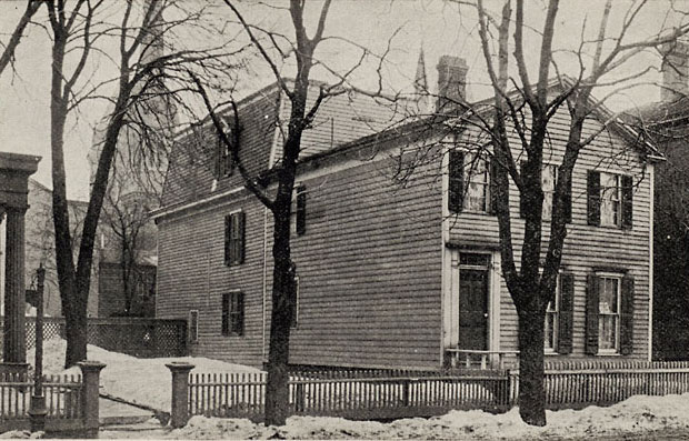 A view of the home of Isaac and Amy Post, a stop on the Underground Railroad (1893). It was located on Sophia Street (now Plymouth Avenue) in Rochester. The site later became Central Presbyterian Church where the funerals of Frederick Douglass (1895) and Susan B. Anthony (1906) took place. Today the church is used by Hochstein Music School. [IMAGE: Rochester Public Library]