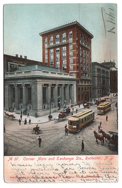 Rochester Trust & Safe Deposit Co. at Main and Exchange Streets (c1910).