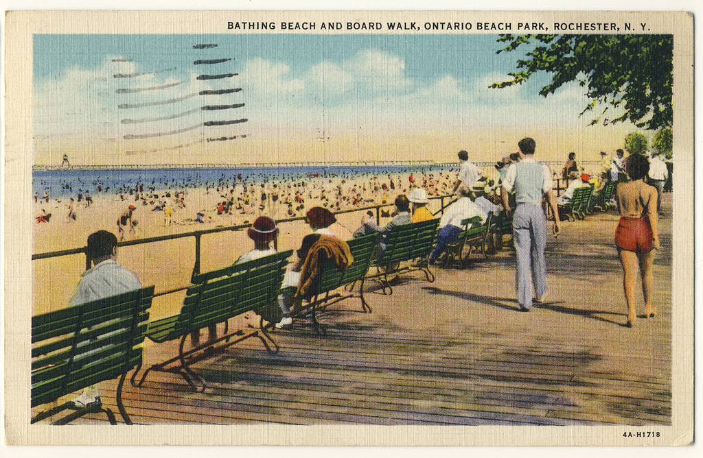The boardwalk at Ontario Beach Park (c1930)... looking pretty much as it does today.