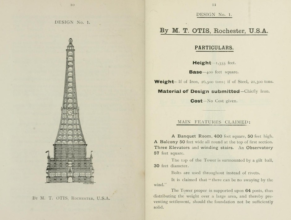 The design was submitted to a design competition for a tower that would rival Eiffel's in Paris.