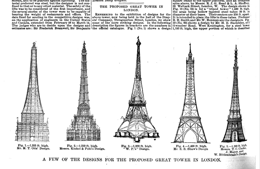 The tower by Otis was to be 1,355 feet tall. 355 taller than Eiffel.