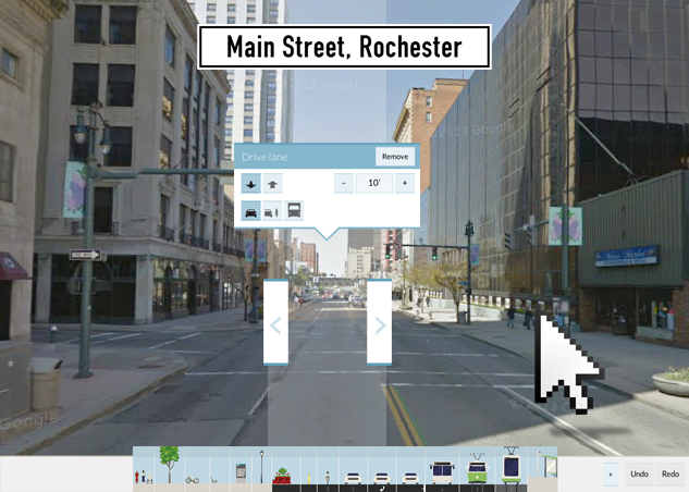 The current view looking west down Main Street, Rochester. Blah. If only we could rearrange things. [IMAGE: Google Streetview]