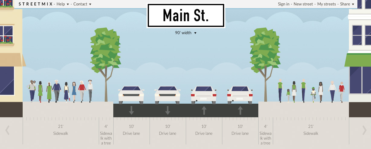 So there it is, Main St. Rochester. Booya. [IMAGE: Streetmix.net]