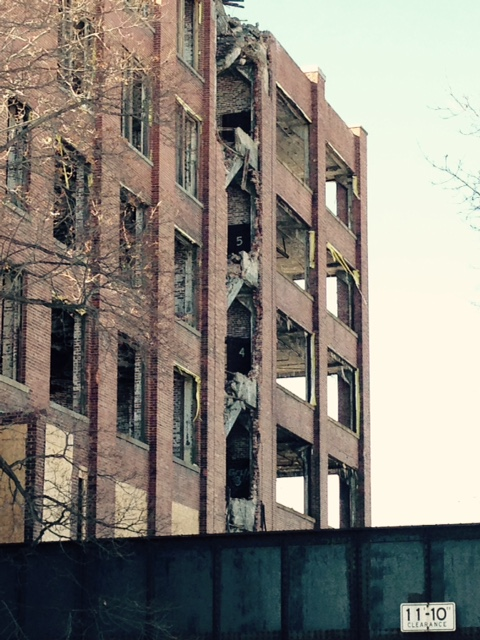 Abandoned Sykes Datatronics building on Orchard Street. Demolition work has been going on since the fall. [PHOTO: Anonymous]